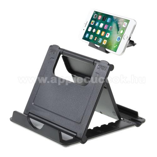 APPLE iPhone XUNIVERZÁLIS asztali telefon tartó, állvány - 5 állítható szög, összecsukható - FEKETE