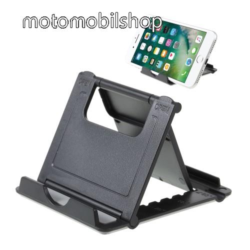 MOTOROLA W377 UNIVERZÁLIS asztali telefon tartó, állvány - 5 állítható szög, összecsukható - FEKETE