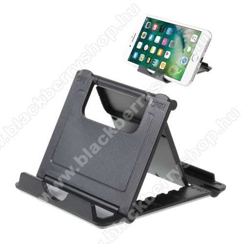 BLACKBERRY 9780 Onyx II.UNIVERZÁLIS asztali telefon tartó, állvány - 5 állítható szög, összecsukható - FEKETE
