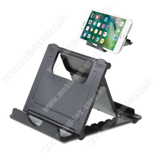 UNIVERZÁLIS asztali telefon tartó, állvány - 5 állítható szög, összecsukható - FEKETE