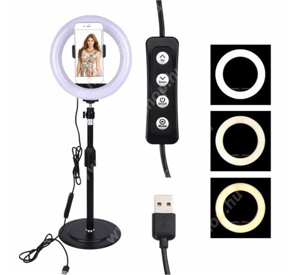 UNIVERZÁLIS asztali telefon tartó állvány - LED Szelfi körfény, állítható színhőmérséklet, 3000-5000K, 360°-ban forgatható - 60-85 mm-ig nyíló bölcsővel, 25-42cm állítható magasság - FEKETE