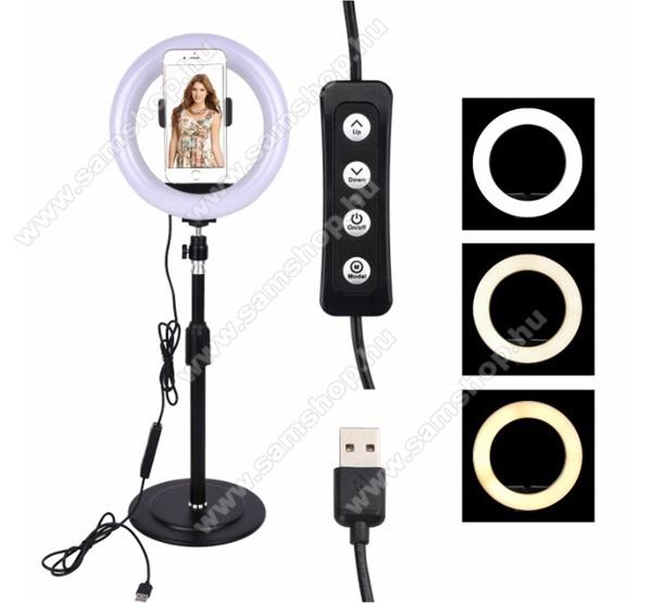 SAMSUNG SGH-i607 BlacUNIVERZÁLIS asztali telefon tartó állvány - LED Szelfi körfény, állítható színhőmérséklet, 3000-5000K, 360°-ban forgatható - 60-85 mm-ig nyíló bölcsővel, 25-42cm állítható magasság - FEKETE