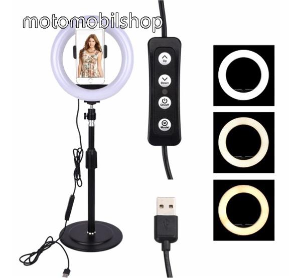 MOTOROLA Q9 UNIVERZÁLIS asztali telefon tartó állvány - LED Szelfi körfény, állítható színhőmérséklet, 3000-5000K, 360°-ban forgatható - 60-85 mm-ig nyíló bölcsővel, 25-42cm állítható magasság - FEKETE