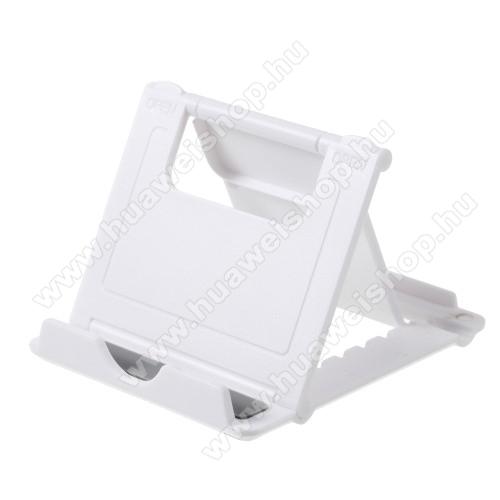 UNIVERZÁLIS asztali telefon tartó, állvány - 5 állítható szög, összecsukható - FEHÉR