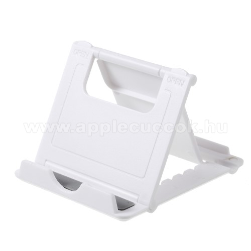 APPLE iPhone XUNIVERZÁLIS asztali telefon tartó, állvány - 5 állítható szög, összecsukható - FEHÉR