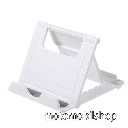 MOTOROLA Moto Z2 Play UNIVERZÁLIS asztali telefon tartó, állvány - 5 állítható szög, összecsukható - FEHÉR