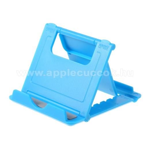 APPLE iPhone XUNIVERZÁLIS asztali telefon tartó, állvány - 5 állítható szög, összecsukható - VILÁGOSKÉK