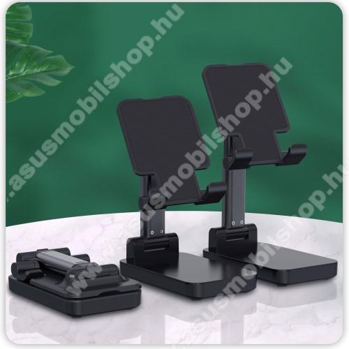 UNIVERZÁLIS asztali telefon tartó, állvány / beépített Power Bank - összecsukható, 5-75°-ig állítható dőlésszög, beépített 5000mAh akkumulátor, 5V/2A, 1x Type-C, 1x USB, 1x microUSB port, nyitott méret 170 x 110mm, csukott 110 x 67mm - FEKETE