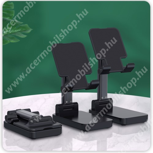 ACER Liquid Z3 UNIVERZÁLIS asztali telefon tartó, állvány / beépített Power Bank - összecsukható, 5-75°-ig állítható dőlésszög, beépített 5000mAh akkumulátor, 5V/2A, 1x Type-C, 1x USB, 1x microUSB port, nyitott méret 170 x 110mm, csukott 110 x 67mm - FEKETE