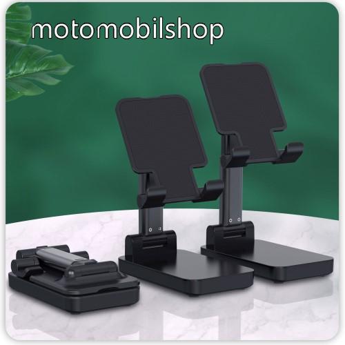 MOTOROLA VE66 UNIVERZÁLIS asztali telefon tartó, állvány / beépített Power Bank - összecsukható, 5-75°-ig állítható dőlésszög, beépített 5000mAh akkumulátor, 5V/2A, 1x Type-C, 1x USB, 1x microUSB port, nyitott méret 170 x 110mm, csukott 110 x 67mm - FEKETE
