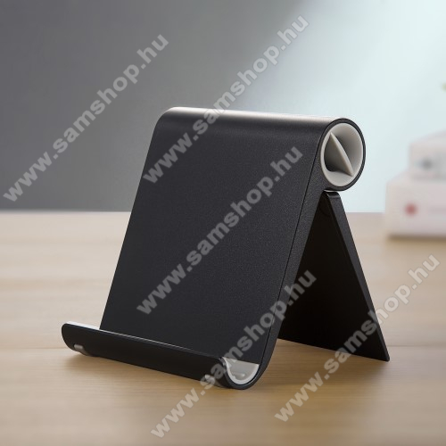 SAMSUNG SGH-F275UNIVERZÁLIS asztali telefon tartó, állvány - állítható szög, összecsukható, összecsukott méret 102 x 87 x 25 mm - FEKETE