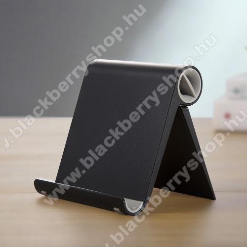 UNIVERZÁLIS asztali telefon tartó, állvány - állítható szög, összecsukható, összecsukott méret 102 x 87 x 25 mm - FEKETE