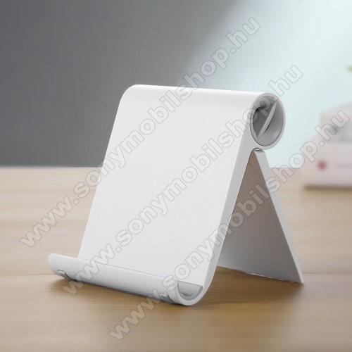 SONY Xperia Z3 + dualUNIVERZÁLIS asztali telefon tartó, állvány - állítható szög, összecsukható, összecsukott méret 102 x 87 x 25 mm - FEHÉR
