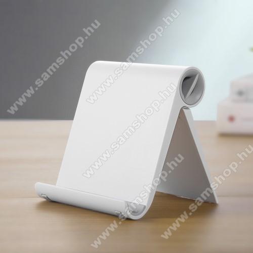 SAMSUNG SGH-F275UNIVERZÁLIS asztali telefon tartó, állvány - állítható szög, összecsukható, összecsukott méret 102 x 87 x 25 mm - FEHÉR