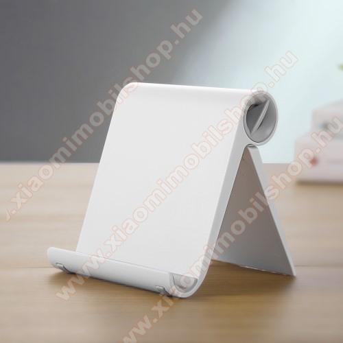 Xiaomi Mi 10T Pro 5GUNIVERZÁLIS asztali telefon tartó, állvány - állítható szög, összecsukható, összecsukott méret 102 x 87 x 25 mm - FEHÉR