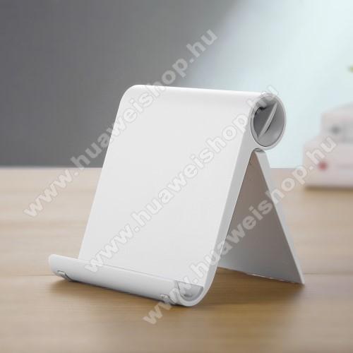 HUAWEI Mate 30UNIVERZÁLIS asztali telefon tartó, állvány - állítható szög, összecsukható, összecsukott méret 102 x 87 x 25 mm - FEHÉR