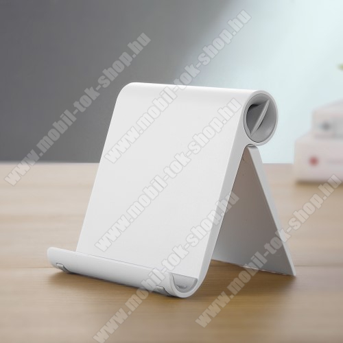 UNIVERZÁLIS asztali telefon tartó, állvány - állítható szög, összecsukható, összecsukott méret 102 x 87 x 25 mm - FEHÉR