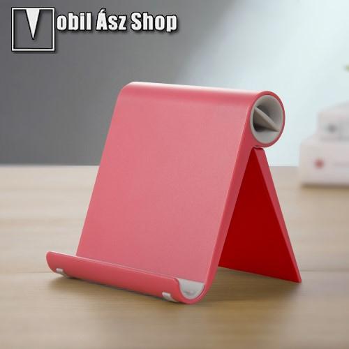 HUAWEI P9UNIVERZÁLIS asztali telefon tartó, állvány - állítható szög, összecsukható, összecsukott méret 102 x 87 x 25 mm - PIROS