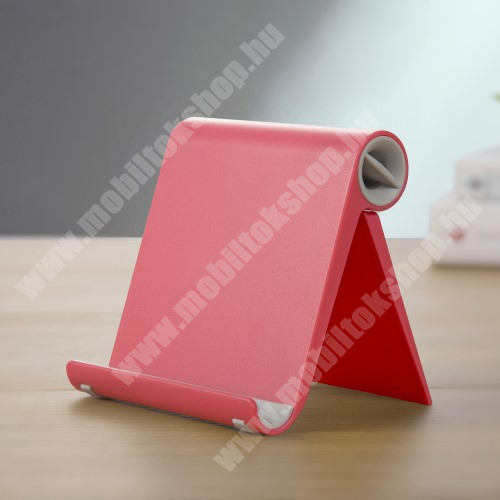 OnePlus 9 (EU/NA) UNIVERZÁLIS asztali telefon tartó, állvány - állítható szög, összecsukható, összecsukott méret 102 x 87 x 25 mm - PIROS