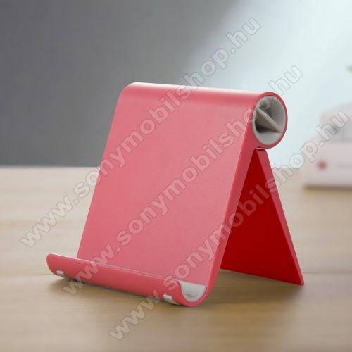 SONY Xperia Z3 + dualUNIVERZÁLIS asztali telefon tartó, állvány - állítható szög, összecsukható, összecsukott méret 102 x 87 x 25 mm - PIROS