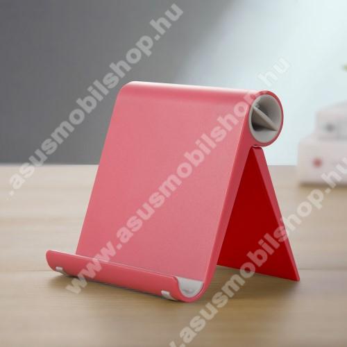 ASUS Zenfone Go (ZB552KL)UNIVERZÁLIS asztali telefon tartó, állvány - állítható szög, összecsukható, összecsukott méret 102 x 87 x 25 mm - PIROS
