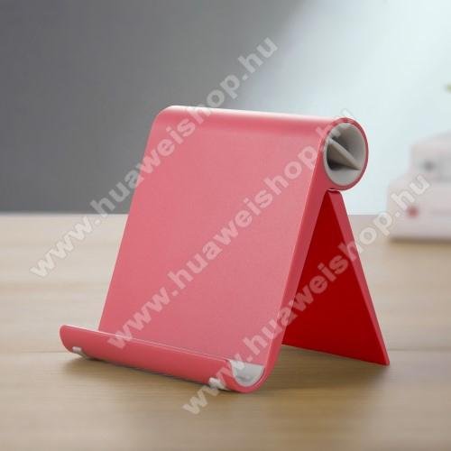 HUAWEI Honor 8AUNIVERZÁLIS asztali telefon tartó, állvány - állítható szög, összecsukható, összecsukott méret 102 x 87 x 25 mm - PIROS