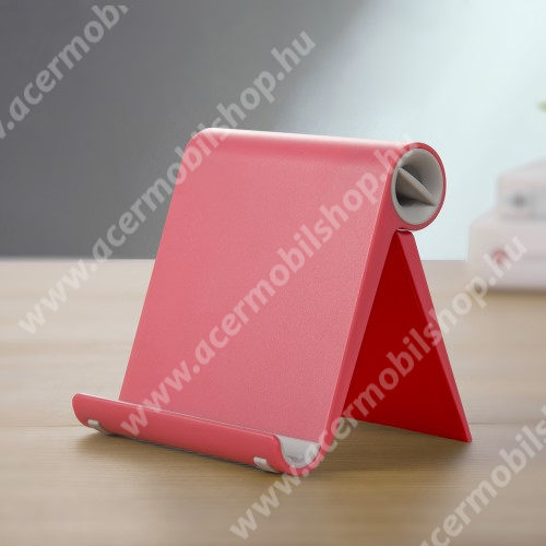 ACER Liquid Z220 UNIVERZÁLIS asztali telefon tartó, állvány - állítható szög, összecsukható, összecsukott méret 102 x 87 x 25 mm - PIROS