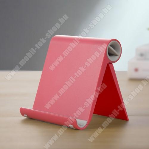 UNIVERZÁLIS asztali telefon tartó, állvány - állítható szög, összecsukható, összecsukott méret 102 x 87 x 25 mm - PIROS