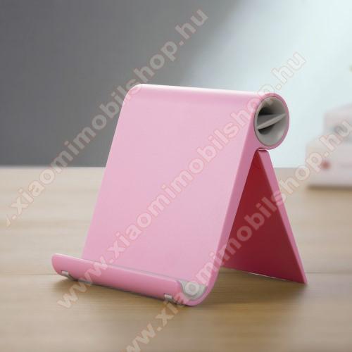 Xiaomi Mi 10 Lite 5GUNIVERZÁLIS asztali telefon tartó, állvány - állítható szög, összecsukható, összecsukott méret 102 x 87 x 25 mm - RÓZSASZÍN