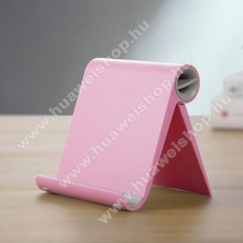 HUAWEI Honor 8AUNIVERZÁLIS asztali telefon tartó, állvány - állítható szög, összecsukható, összecsukott méret 102 x 87 x 25 mm - RÓZSASZÍN