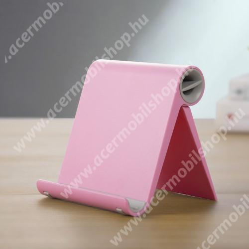 ACER Liquid Z3 UNIVERZÁLIS asztali telefon tartó, állvány - állítható szög, összecsukható, összecsukott méret 102 x 87 x 25 mm - RÓZSASZÍN