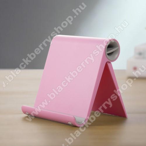 BLACKBERRY Q20 Classic Non CameraUNIVERZÁLIS asztali telefon tartó, állvány - állítható szög, összecsukható, összecsukott méret 102 x 87 x 25 mm - RÓZSASZÍN