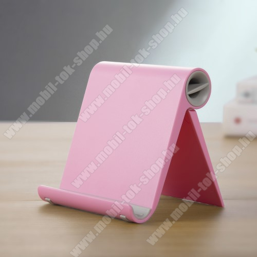 UNIVERZÁLIS asztali telefon tartó, állvány - állítható szög, összecsukható, összecsukott méret 102 x 87 x 25 mm - RÓZSASZÍN