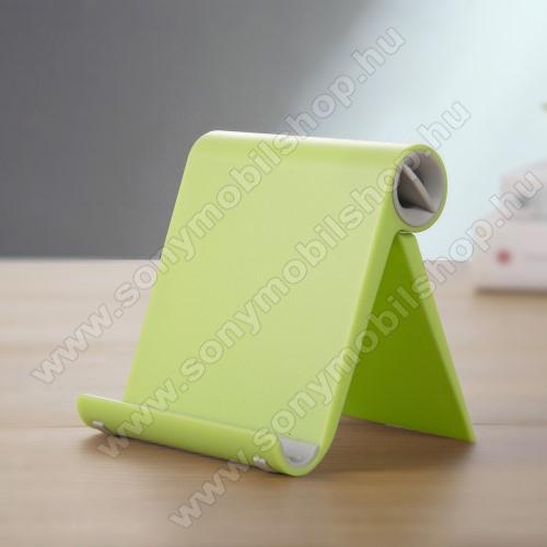 SONY Xperia E4g Dual (E2033 / E2043)UNIVERZÁLIS asztali telefon tartó, állvány - állítható szög, összecsukható, összecsukott méret 102 x 87 x 25 mm - ZÖLD
