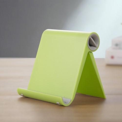 UNIVERZÁLIS asztali telefon tartó, állvány - állítható szög, összecsukható, összecsukott méret 102 x 87 x 25 mm - ZÖLD
