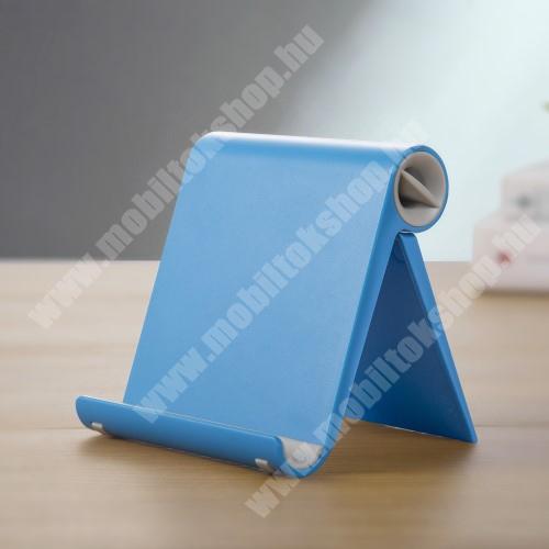OnePlus 9 (EU/NA) UNIVERZÁLIS asztali telefon tartó, állvány - állítható szög, összecsukható, összecsukott méret 102 x 87 x 25 mm - KÉK