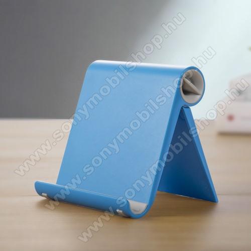 SONY Xperia Z2 (D6503)UNIVERZÁLIS asztali telefon tartó, állvány - állítható szög, összecsukható, összecsukott méret 102 x 87 x 25 mm - KÉK