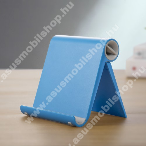 ASUS Zenfone Go (ZB552KL)UNIVERZÁLIS asztali telefon tartó, állvány - állítható szög, összecsukható, összecsukott méret 102 x 87 x 25 mm - KÉK
