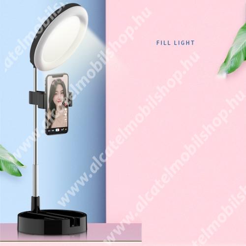 UNIVERZÁLIS asztali telefon tartó állvány - 64 LEDES Szelfi körfény 6-12W, állítható színhőmérséklet, 3500K-6000K, sminktükör, 360°-ban forgatható - 30-58cm-ig állítható magasság, 172 x 172 x 70mm - FEKETE