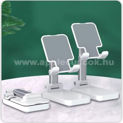 UNIVERZÁLIS asztali telefon tartó, állvány / beépített Power Bank - összecsukható, 5-75°-ig állítható dőlésszög, beépített 5000mAh akkumulátor, 5V/2A, 1x Type-C, 1x USB, 1x microUSB port, nyitott méret 170 x 110mm, csukott 110 x 67mm - FEHÉR
