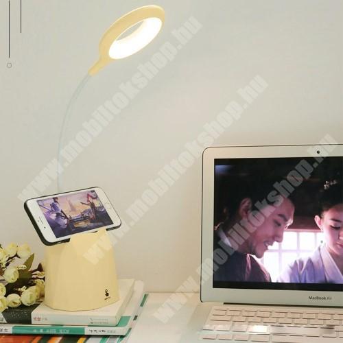 UNIVERZÁLIS asztali telefon tartó állvány - flexibilis LED körfény / olvasólámpa, állítható színhőmérséklet, 4200-4600K, 2,5W, érintéssel vezérelhető, beépített 4000mAh akkumulátor, max 48 óra használati idő tolltartó - BÉZS