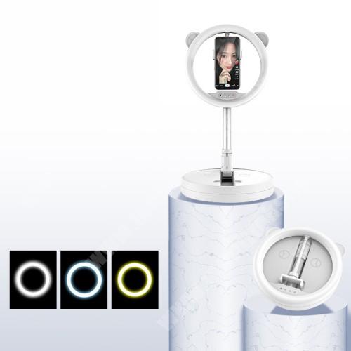 PHILIPS W5510 UNIVERZÁLIS asztali telefon tartó állvány / LED körfény - 128 LED-es, összecsukható, alumínium, állítható színhőmérséklet / fényerő, 360°-ban forgatható, állítható magasság 54-167cm-ig, 280 x 280 x 73mm - FEHÉR