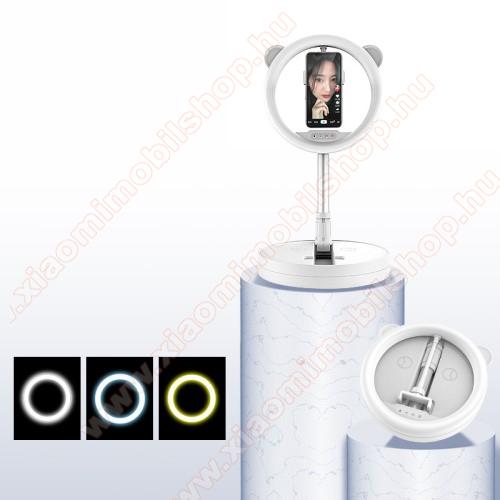 UNIVERZÁLIS asztali telefon tartó állvány / LED körfény - 128 LED-es, összecsukható, alumínium, állítható színhőmérséklet / fényerő, 360°-ban forgatható, állítható magasság 54-167cm-ig, 280 x 280 x 73mm - FEHÉR