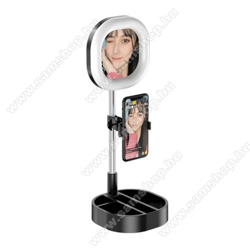 UNIVERZÁLIS asztali telefon tartó állvány - 64 LEDES Szelfi körfény / sminktükör,  5-15W, állítható színhőmérséklet / fényerő, 3500K-6000K, 360°-ban forgatható, 63-83mmig nyíló bölcső, 30-58cm-ig állítható magasság - FEKETE
