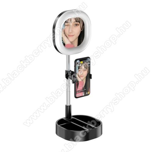 BLACKBERRY 8700fUNIVERZÁLIS asztali telefon tartó állvány - 64 LEDES Szelfi körfény / sminktükör,  5-15W, állítható színhőmérséklet / fényerő, 3500K-6000K, 360°-ban forgatható, 63-83mmig nyíló bölcső, 30-58cm-ig állítható magasság - FEKETE