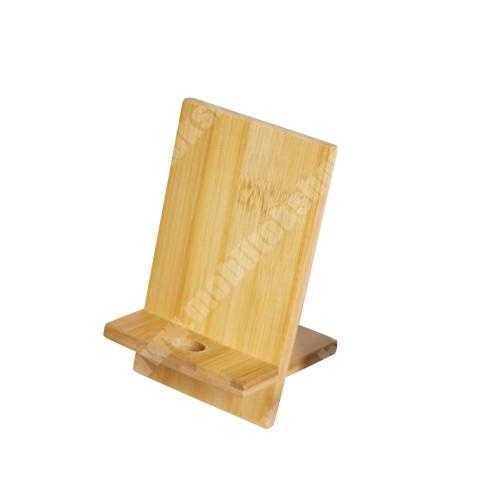 UNIVERZÁLIS asztali telefon tartó, állvány - bambuszfából készült, 2 részből áll, kábelkivezető nyílással, 140 x 80 x 70mm - BARNA