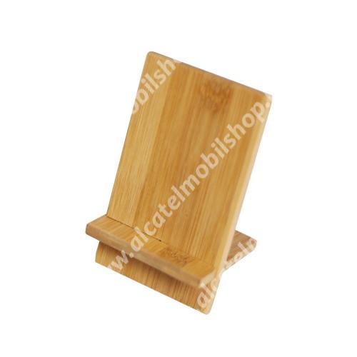 UNIVERZÁLIS asztali telefon tartó, állvány - bambuszfából készült, 2 részből áll, 140 x 80 x 70mm - BARNA