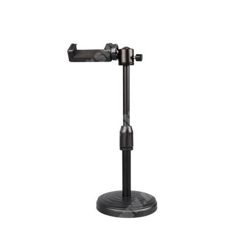 """UNIVERZÁLIS asztali telefon tartó / fotóállvány - 360°-ban forgatható, dönthető, maximum 3kg teherbírás, 60-85mm-ig nyíló bölcső, 20-30cm-ig állítható magasság, univerzális 1/4""""-es csatlakozó - FEKETE"""