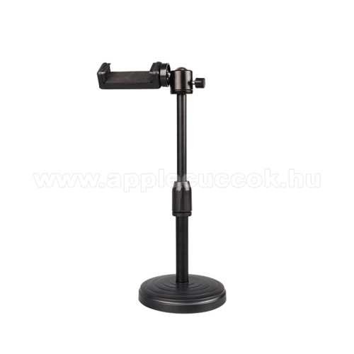 APPLE iPhone SEUNIVERZÁLIS asztali telefon tartó / fotóállvány - 360°-ban forgatható, dönthető, maximum 3kg teherbírás, 60-85mm-ig nyíló bölcső, 20-30cm-ig állítható magasság, univerzális 1/4