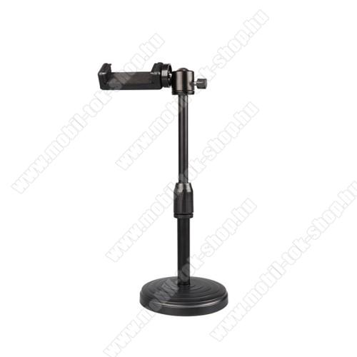 UNIVERZÁLIS asztali telefon tartó / fotóállvány - 360°-ban forgatható, dönthető, maximum 3kg teherbírás, 60-85mm-ig nyíló bölcső, 20-30cm-ig állítható magasság, univerzális 1/4